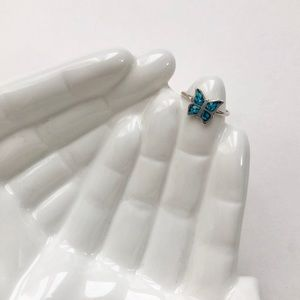 Vintage Butterfly Turquoise Sterling Silver Ring